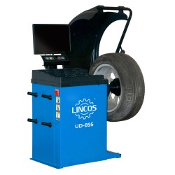 Automatic wheel balancer, with laser and sonar gauge