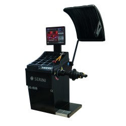 Automatic wheel balancer, with laser, sonar gauge and LED display