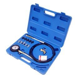 Oil pressure tester kit, hose with quick couplers, 10 adapters