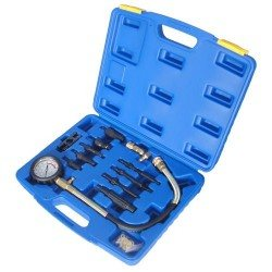 Diesel compression tester kit, with injector, glow plug adapters