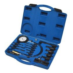 Diesel compression tester kit, with adapters, 0-70bar