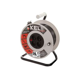 Extension cord reel with protection switch, black cable, length 40m