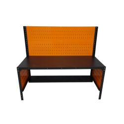Workbench, 180x80cm, with 1 shelf, perforated back wall