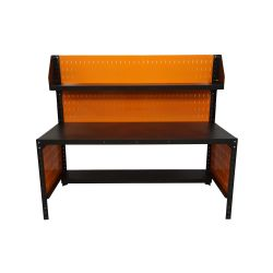 Metal workbench, 180x80cm, with additional shelves, perforated wall